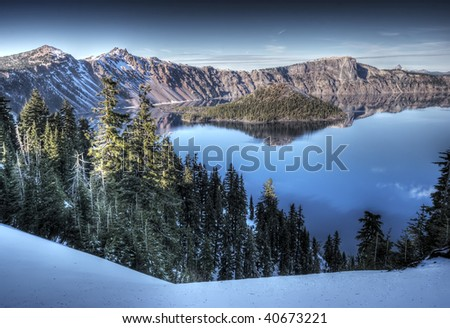 Crater Lake National Park in Winter - stock photo