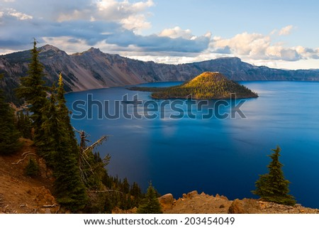Crater Lake National Park, Oregon at sunset - stock photo