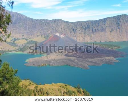 Crater lake of Mount Rinjani, Lombok, Indonesia - stock photo