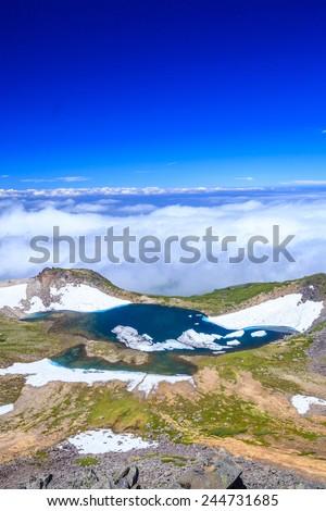 Crater lake of Mt. Norikura, Gifu, Japan - stock photo
