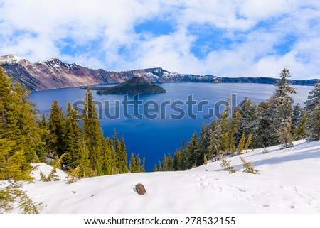 Crater Lake on a Bright, Beautiful Day - stock photo