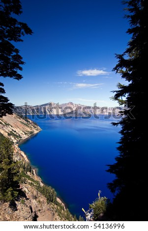 Crater Lake on a brilliant blue day - stock photo