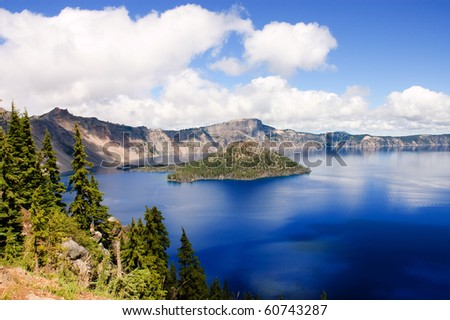 Crater Lake, Oregon, a caldera left from a gigantic volcanic explosion - stock photo
