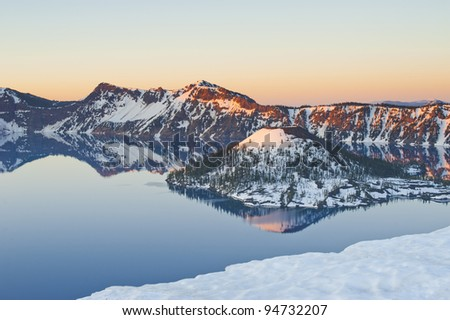 Crater Lake, Oregon, United States of America. Lake form from destroy volcano. - stock photo