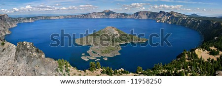 Crater Lake Panoramic - stock photo