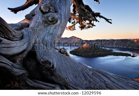 Crater Lake Sunrise - stock photo