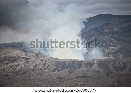 Crater of the volcano Aso - stock photo