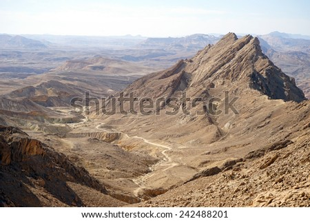 Crater Ramon in Negev desert, Israel                                - stock photo