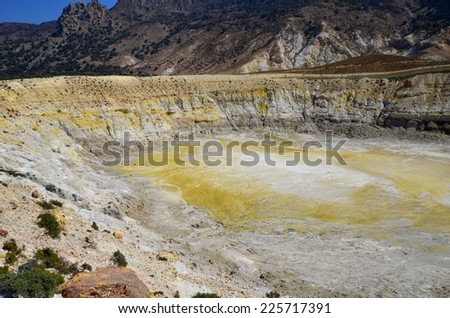 crater Stefanos on island Nissyros - stock photo