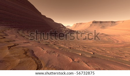 Crater valley with sculpted buttes on Mars - stock photo