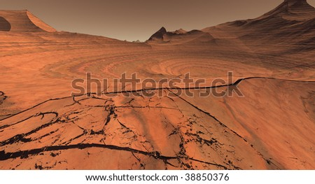Cratered Mars Landscape - stock photo