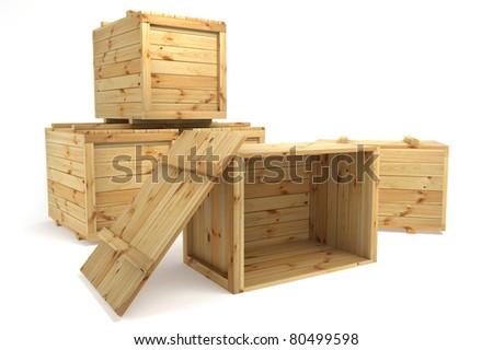 crates isolated on white - stock photo