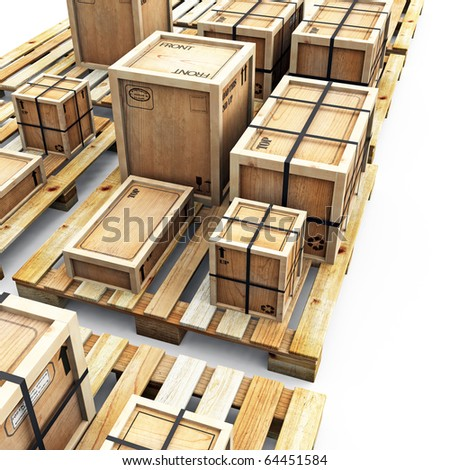 Crates on Pallets - stock photo