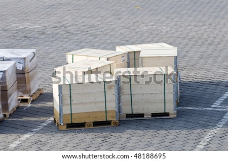 Crates on the ground of the airport - stock photo