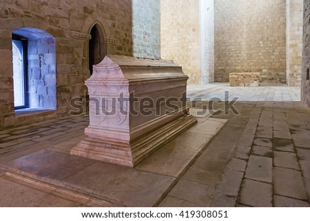Crato, Portugal. February 26, 2015: Tomb of Dom Alvaro Goncalves Pereira in the nave of the church of the Flor da Rosa Gothic Monastery. Hospitaller Crusader Knight of the Malta Order. - stock photo