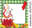 Crawfish Boil Invitation with a green tablecloth frame - stock photo
