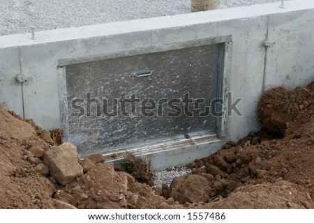 crawl space door on new house - stock photo