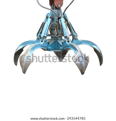 Crawler crane attached to clamp shell bucket Hydraulic boom of wheel-mounted crane isolated on white background. This has clipping path. - stock photo