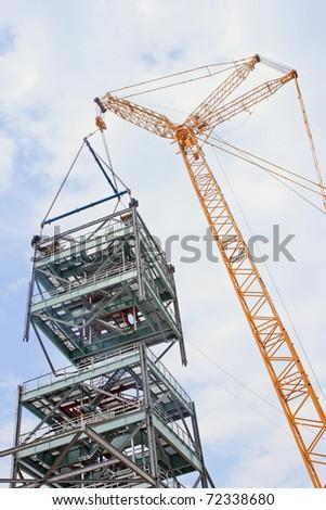 Crawler Crane super lift over 100 ton - stock photo