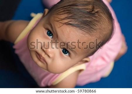 crawling asian baby - stock photo