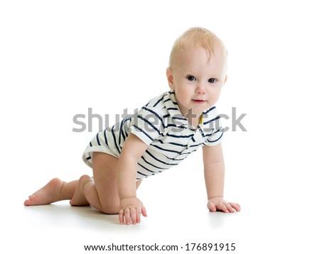 crawling baby boy isolated - stock photo
