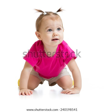 crawling baby front view isolated - stock photo