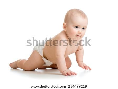 crawling baby girl isolated on white background - stock photo