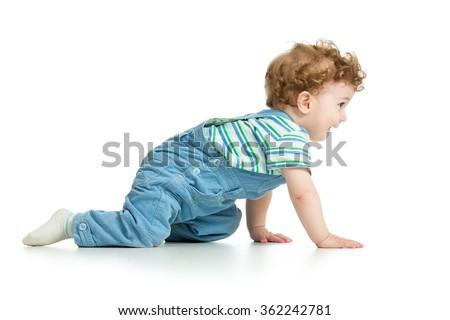 crawling baby. isolated on white background - stock photo