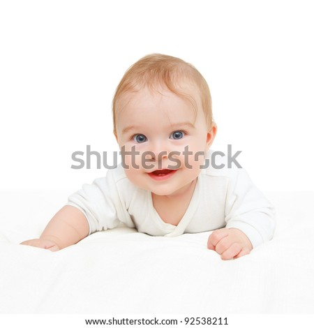 Crawling baby on white background