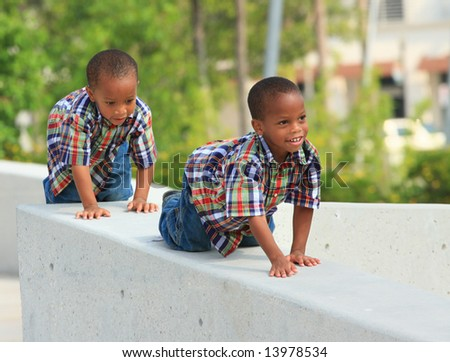 Crawling on a Ledge - stock photo
