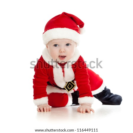 crawling Santa Claus baby boy - stock photo