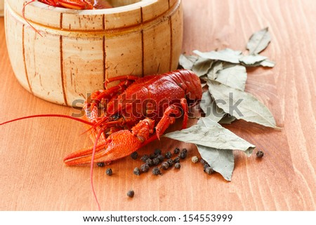 crayfish boiled with seasoning on the table - stock photo