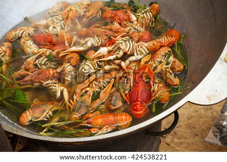 Crayfish cooking in a large pot - stock photo