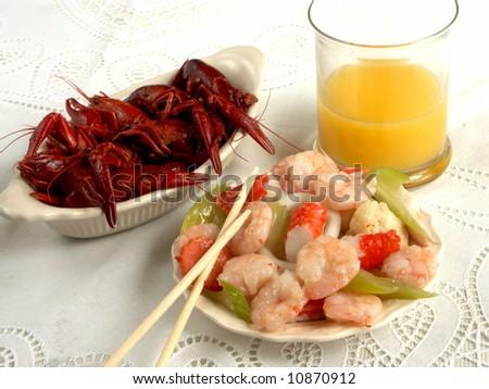 crayfish on the white with shrimps - stock photo