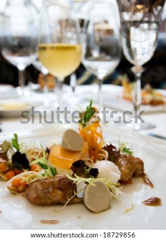 Crayfish with black truffle mousse - stock photo