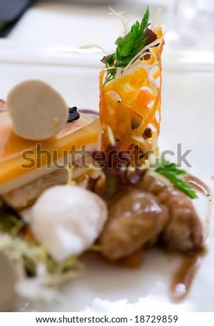 Crayfish with black truffle mousse - close-up - stock photo