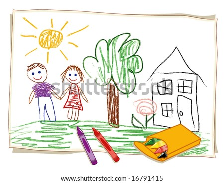 Crayon Drawing by child, box of crayons, girl, boy, house, tree and flower in a sunny landscape.
