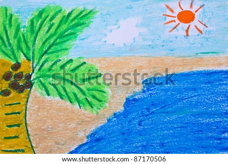 crayon drawing of a beach - stock photo