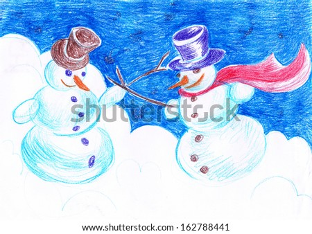 Crayon drawing Snowman fencing duel - stock photo