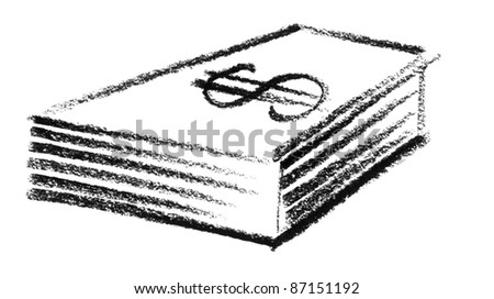 crayon-sketched paper money - stock photo
