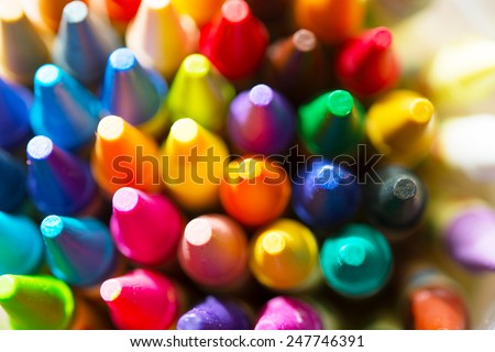 Crayon tips close-up. Shallow depth of field for dreamy impressional feel.  - stock photo