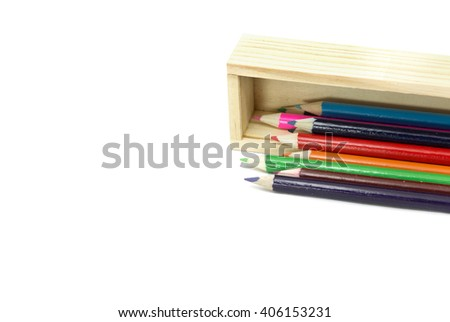 crayon with wood box on isolated - stock photo