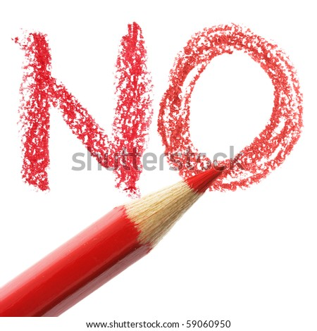 Crayon writing word NO over white background - stock photo