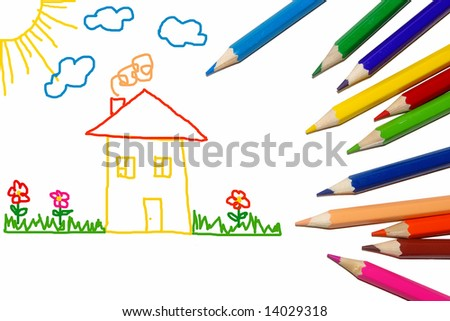 crayons and childish drawing - stock photo