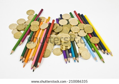 crayons and coin
