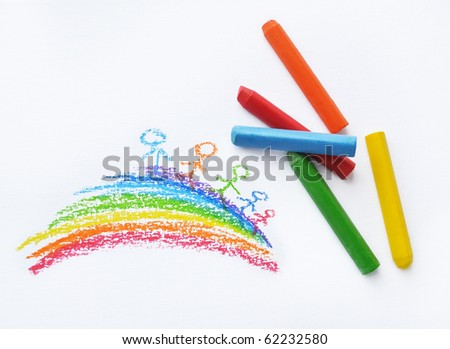 Crayons and kids drawing on white background - stock photo