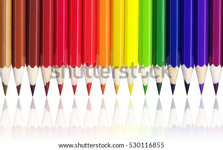 Crayons - colorful set on white background.