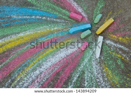 Crayons for drawing on the pavement - stock photo