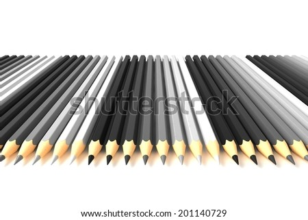 Crayons from black to white