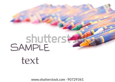 Crayons in Shallow DOF with Space for Text - stock photo